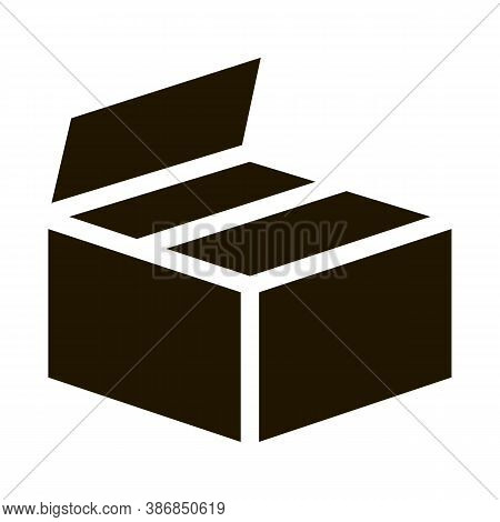 Cardboard Transportation Box Packaging Glyph Icon . Carton Open And Closed Packaging Pictogram. Parc