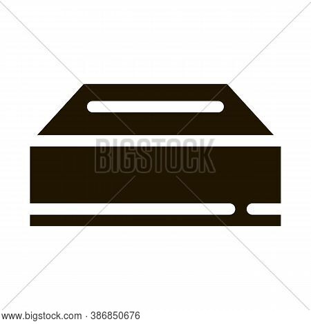 Delivery Container Packaging Element Glyph Icon . Carton Open And Closed Packaging Pictogram. Parcel