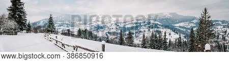 Snow-capped Wooden Fence In Mountains Carpathians Ukraine. On Background Christmas Tree In Forest. W
