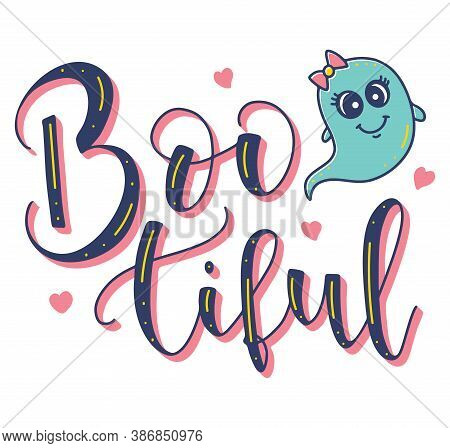 Bootiful Lettering For Girls. Colored Halloween Element.