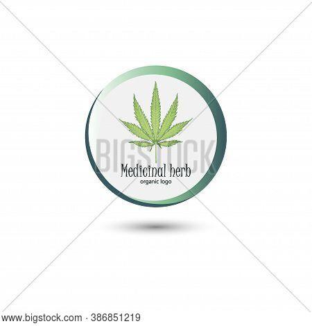 Medical Marijuana Logo. Hemp Leaf In A Round Frame. Concise Logo For Design. Vector
