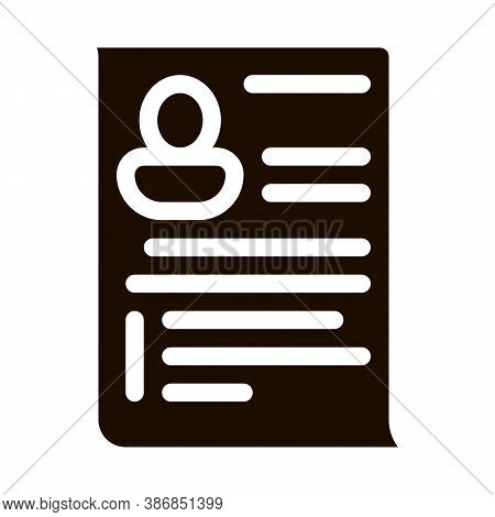 Candidate Curriculum Vitae Cv Worksheet Glyph Icon . Hunting Business People And Recruitment Candida