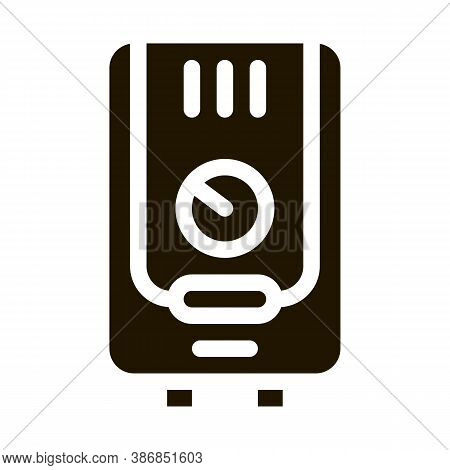 Gaz Boiler Heating System Equipment Glyph Icon . Cool And Humidity, Airing, Ionisation And Heating P