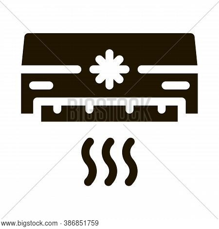 Air Conditioner Cooling Power Technology Glyph Icon . Cooling And Humidity, Airing, Ionisation And H