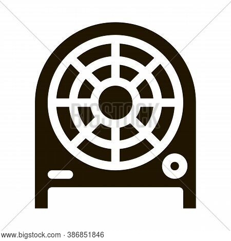 Electronic Fan Heater Heating Equipment Glyph Icon . Cool And Humidity, Airing, Ionisation And Heati