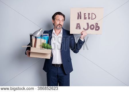 Looking For A Job. Photo Of Unhappy Worker Mature Guy Financial Crisis Lost Work Hold Carton Box Bel