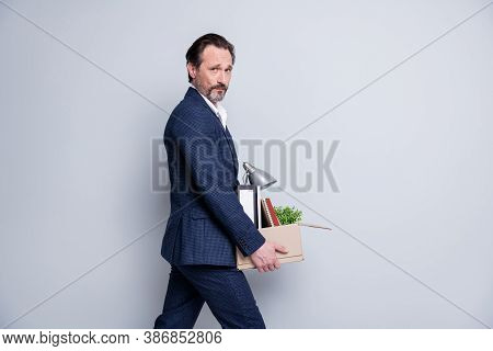 Profile Photo Of Unhappy Worker Boss Mature Guy Hopeless Financial Crisis Lost Work Carry Carton Box