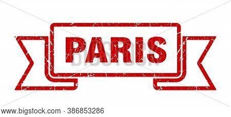 Paris Ribbon. Red Paris Grunge Band Sign