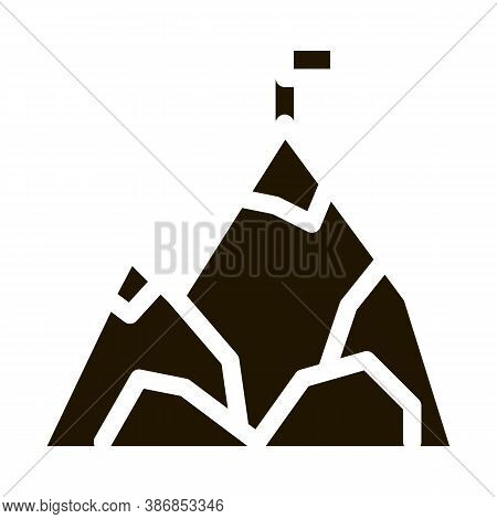 Mountain With Flag On Peak Alpinism Glyph Icon . Compass, Mountain Direction And Burner Mountaineeri
