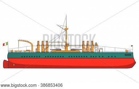 Italian Battleship Italy Combat Naval Artillery. Military Ship With Guns Side View And Top View.