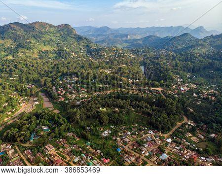 Aerial Drone Shot Of Lushoto Village In Usambara Mountains. Remote Place In Tanga Province, Tanzania
