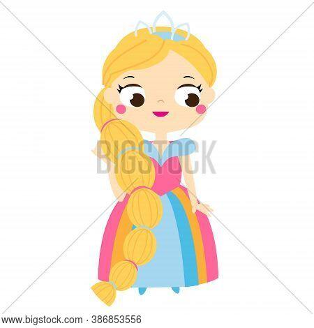 Cartoon Girl With Long Hair In Beautiful Dress And Crown Diadem. Cute Princess.