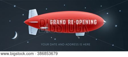 Vector Retro Blimp With Wavy Advertising Banner For Grand Opening Or Re-opening Illustration