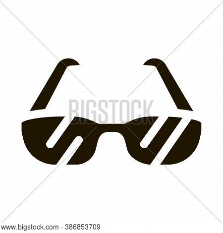 Sport Spectacles Alpinism Equipment Glyph Icon . Compass And Glasses, Mountain Direction And Burner