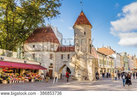 Tallinn, Estonia - September 29, 2018: Towers Of Viru Gate At The Entrance To The Old Town Of Tallin