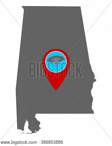 Detailed And Accurate Illustration Of Map Of Alabama And Pin Tornado Warning