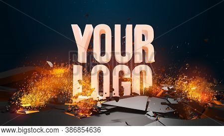 Explosion And Flying Debris, Fire And Sparks. Template For Your Logo Or Text. All Basic Elements Are