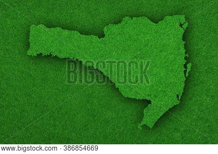 Detailed And Colorful Image Of Map Of Santa Catarina On Green Felt