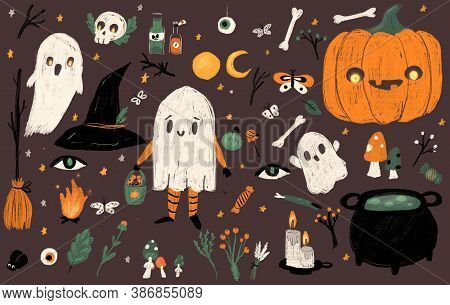 Big Set Of Halloween Hand Drawn Charcoal Elements. Ghosts, Pumpkin, Cauldron, Candles And Other Symb