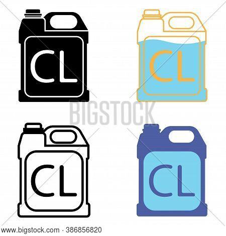 Chlorine Icon Set. Chlorine Disinfectant. Chemical Detergent, Disinfection Supplies. Sanitary Equipm