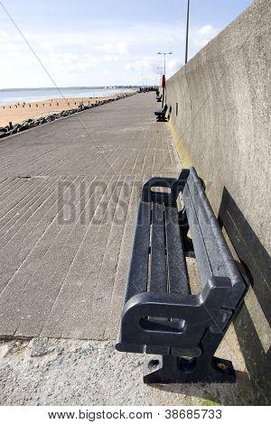 Benches On A Beach Promenade