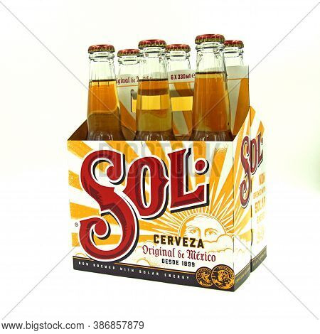 Zaandam, The Netherlands - September 13, 2020: Sixpack Of Sol Beer Against A White Background.