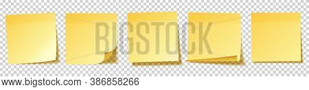 Realistic Blank Sticky Notes. Yellow Sheets Of Note Papers. Paper Reminder. Vector Illustration.