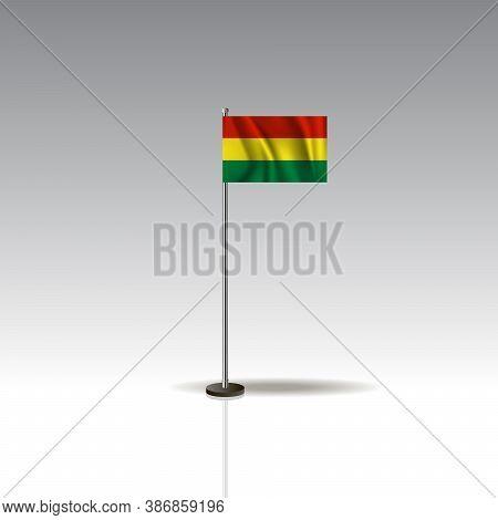Desktop Flag Vector Image. National Bolivia Flag Isolated On Gray Background.