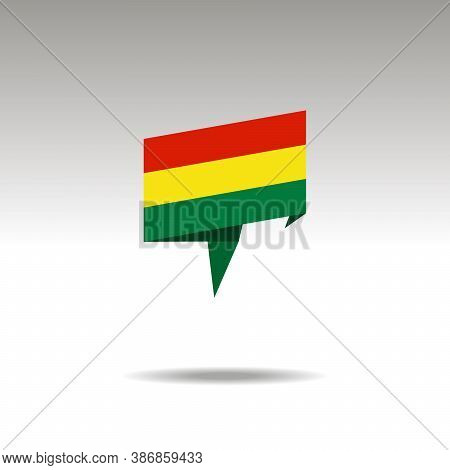 Bolivia Paper Flag 3d Realistic Speech Bubble On White Background