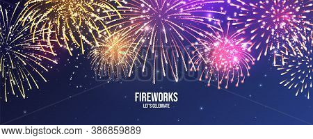 Festive Fireworks. Realistic Colorful Firework. Christmas Or New Year Greeting Card. Diwali Festival