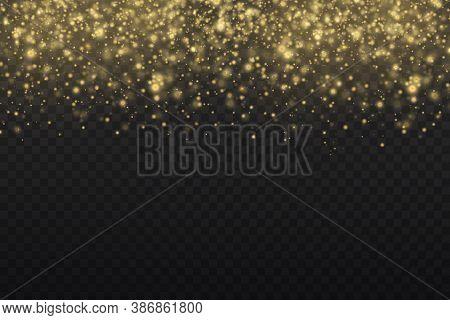 Sparkling Golden Magic Dust Particles On Transparent Background, Sparkle, Shine Lights, Yellow Dust