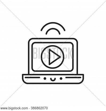 Video Broadcast Black Line Icon. Smm Promotion. Sign For Web Page, Mobile App, Button, Logo. Vector