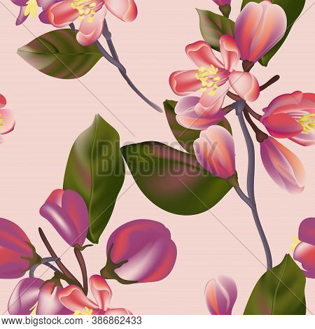 Seamless Floral Pattern In Vector, Colorful Interior Wallpaper Design, Violet Flora Spring Bloom