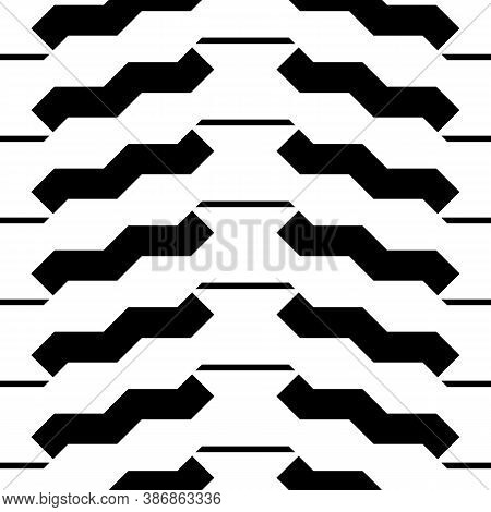 Black Zigzag Lines And Strokes. Jagged Stripes. Seamless Surface Pattern Design With Triangular Wave