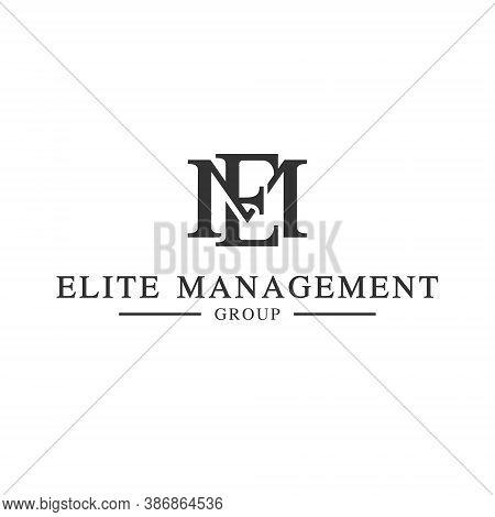 E M Letter Lettermark Logo Em Monogram - Design Element Typeface Type Vintage Sign Emblem Typeset Co