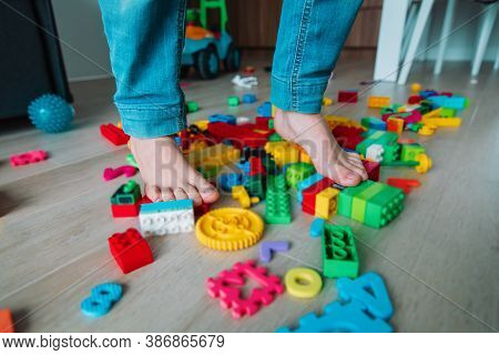 Too Much Toys At Home- Kid Steps On Toys Trying To Go Through