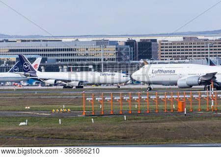 Boeing 747-800 And Airbus A340-400 Lufthansa Airlines. Germany, Frankfurt Am Main Airport. 14 Decemb