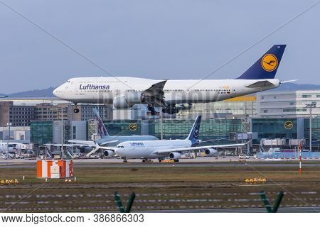 Boeing 747-800 Lufthansa Airlines. Germany, Frankfurt Am Main Airport. 14 December 2019