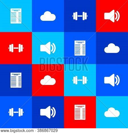Set Paper Or Financial Check, Cloud, Dumbbell And Speaker Volume Icon. Vector
