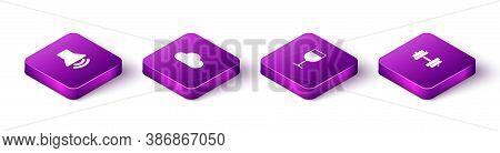 Set Isometric Speaker Volume, Cloud, Wine Glass And Dumbbell Icon. Vector