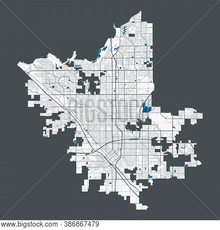 Fresno Map. Detailed Map Of Fresno City California Administrative Area. Cityscape Panorama. Royalty