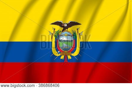 Realistic Waving Flag Of The Waving Flag Of Ecuador, High Resolution Fabric Textured Flowing Flag,ve