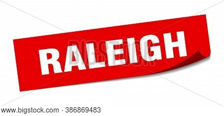 Raleigh Sticker. Raleigh Red Square Peeler Sign