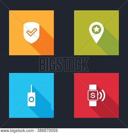 Set Shield With Check Mark, Location Star, Remote Control And Contactless Payment Icon. Vector