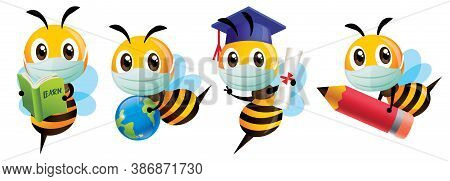 Bee Wear Protective Mask Back To School Set. Cartoon Bee Education Mascot Set. Cartoon Cute Bee Grad