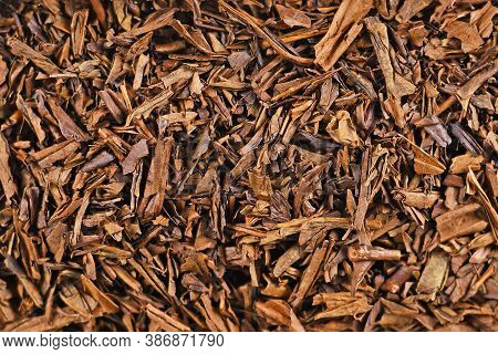 Top View Of Dried 'hojicha' Tea Leaves, A Reddish Brown Roasted Japanese Tea Made From Common 'banch