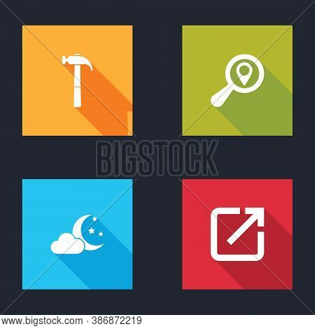 Set Hammer, Search Location, Cloud With Moon And Stars And Open In New Window Icon. Vector