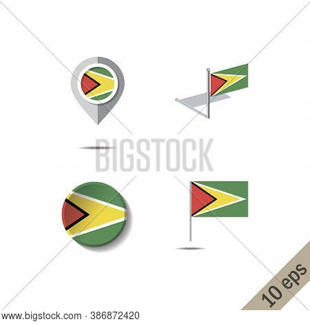 Map Pins With Flag Of Guyana - Vector Illustration