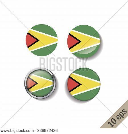Set Of Guyana Flags Round Badges. Vector Illustration. 10 Eps