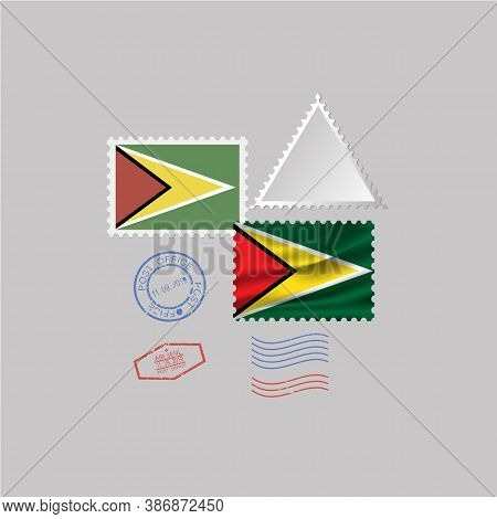A Set Of Stamps With The Image Of The Flag Guyana. Vector Illustration On Grey Background.